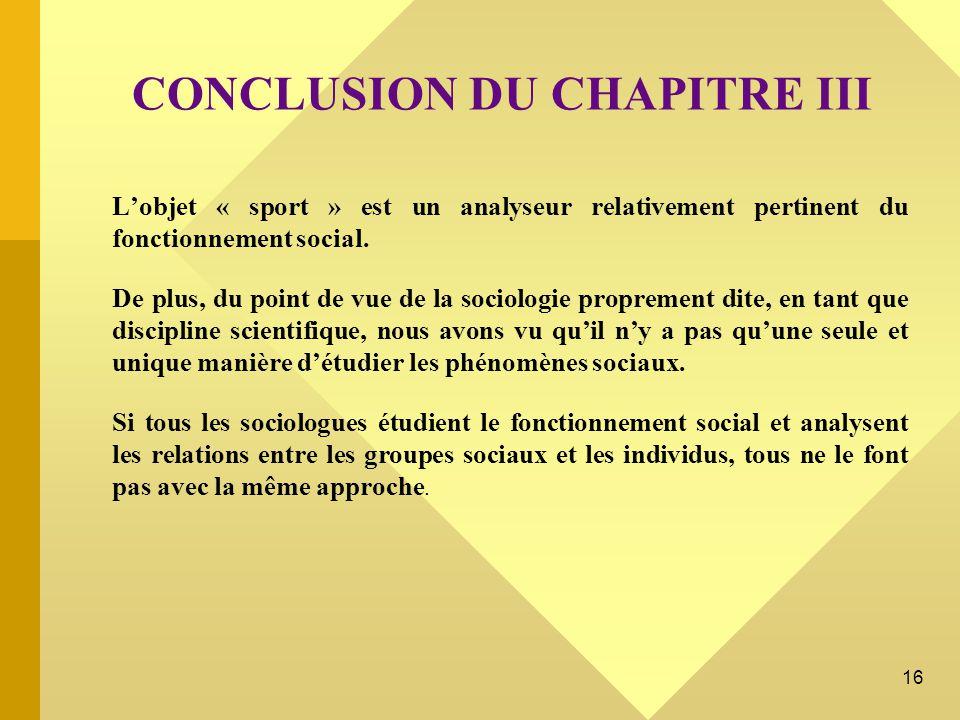 CONCLUSION DU CHAPITRE III