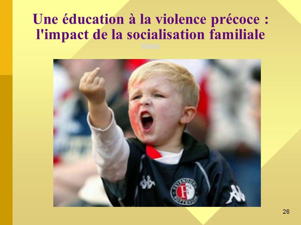 Une éducation à la violence précoce : l impact de la socialisation familiale Retour