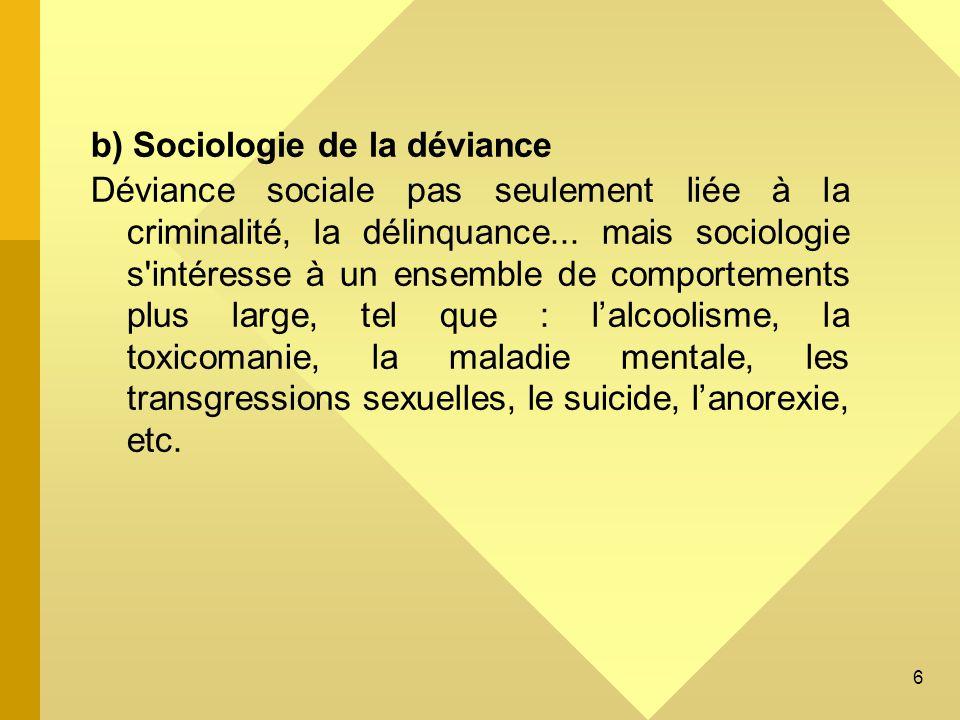 b) Sociologie de la déviance