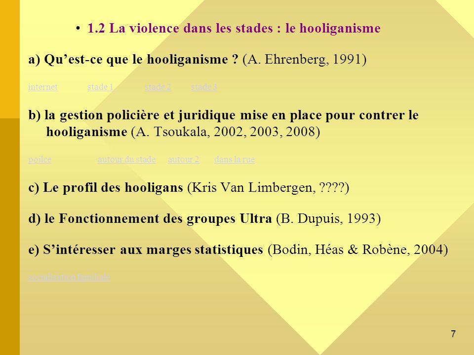 1.2 La violence dans les stades : le hooliganisme