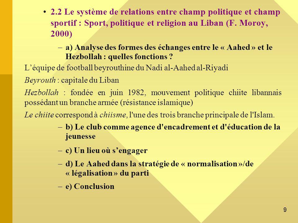 2.2 Le système de relations entre champ politique et champ sportif : Sport, politique et religion au Liban (F. Moroy, 2000)