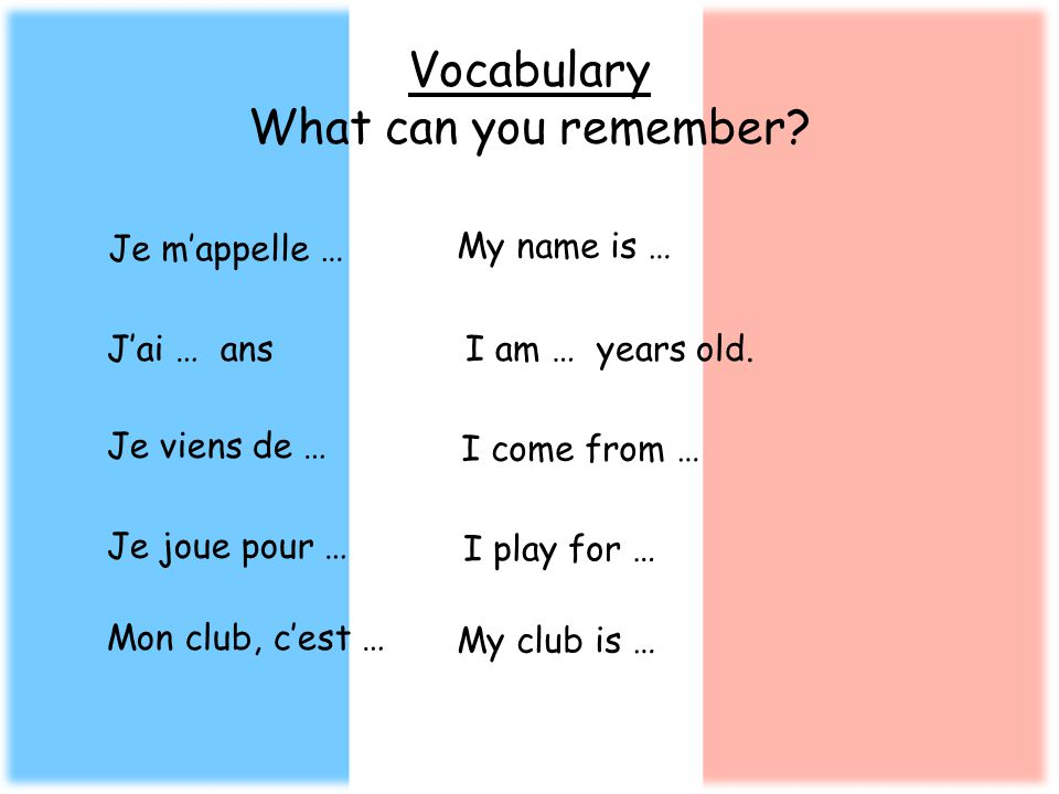 Vocabulary What can you remember