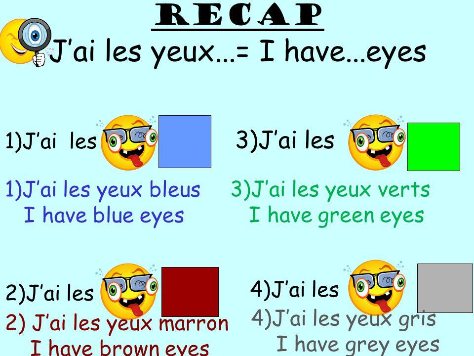 RECAP J'ai les yeux...= I have...eyes