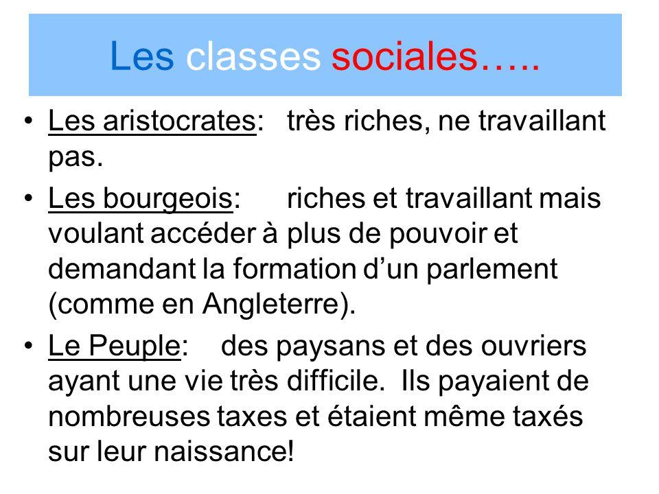 Les classes sociales….. Les aristocrates: très riches, ne travaillant pas.