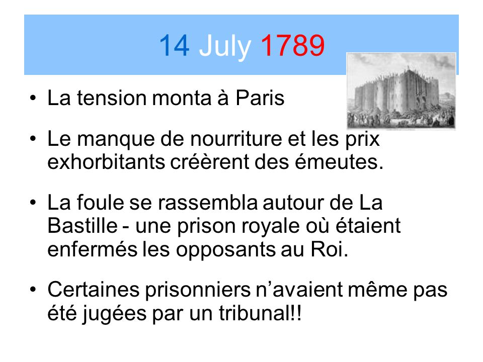 14 July 1789 La tension monta à Paris