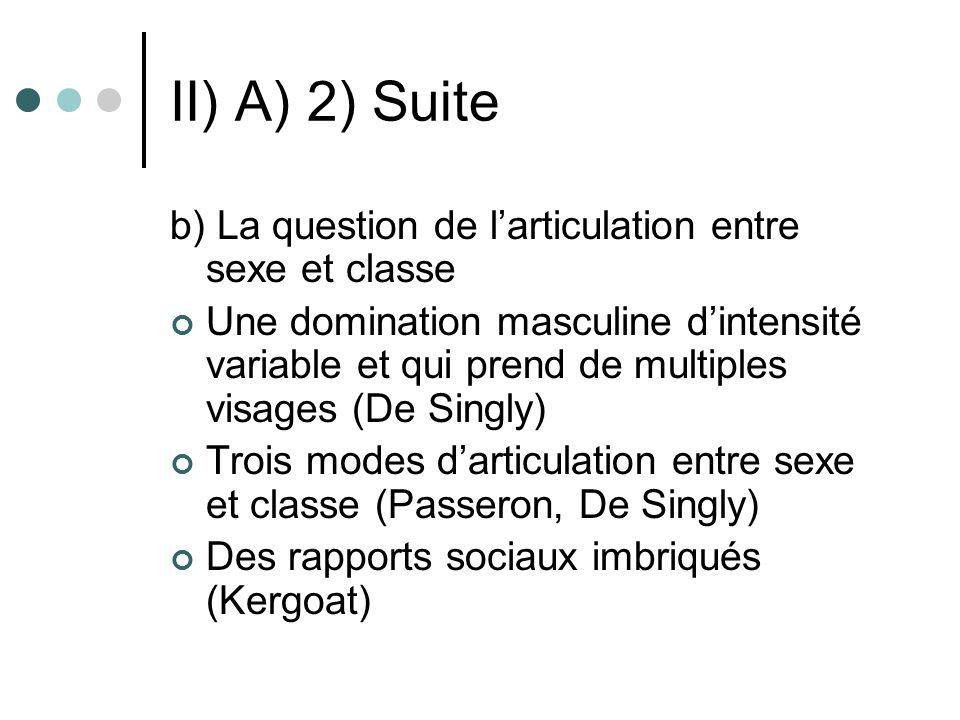 II) A) 2) Suite b) La question de l'articulation entre sexe et classe