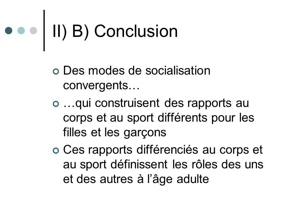 II) B) Conclusion Des modes de socialisation convergents…