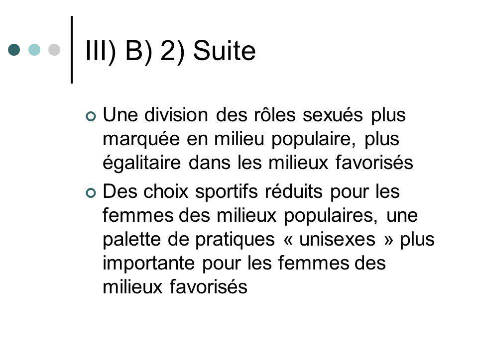 III) B) 2) Suite Une division des rôles sexués plus marquée en milieu populaire, plus égalitaire dans les milieux favorisés.