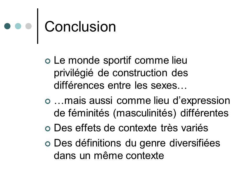 Conclusion Le monde sportif comme lieu privilégié de construction des différences entre les sexes…