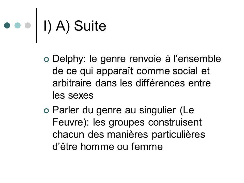 I) A) Suite Delphy: le genre renvoie à l'ensemble de ce qui apparaît comme social et arbitraire dans les différences entre les sexes.