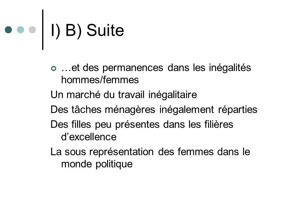 I) B) Suite …et des permanences dans les inégalités hommes/femmes