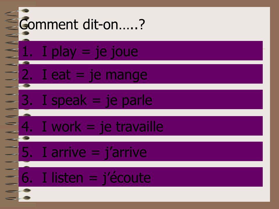Comment dit-on….. 1. I play. 1. I play = je joue. 2. I eat. 2. I eat = je mange. 3. I speak.