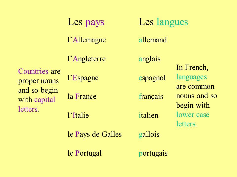 Les pays Les langues l'Allemagne allemand l'Angleterre anglais
