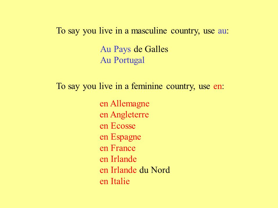 To say you live in a masculine country, use au: