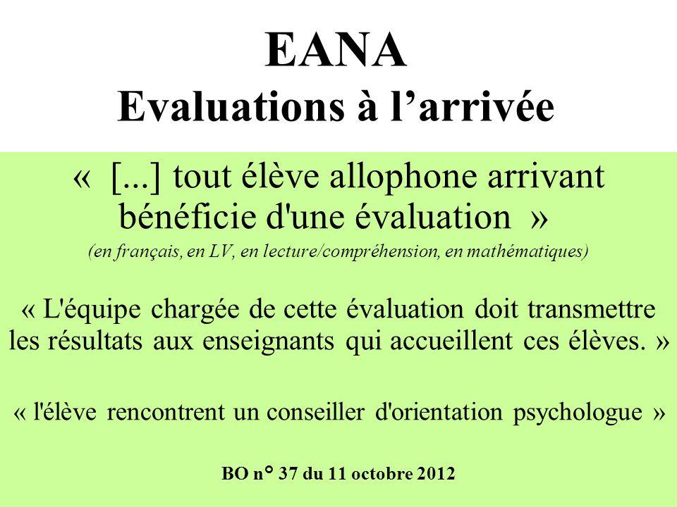 EANA Evaluations à l'arrivée