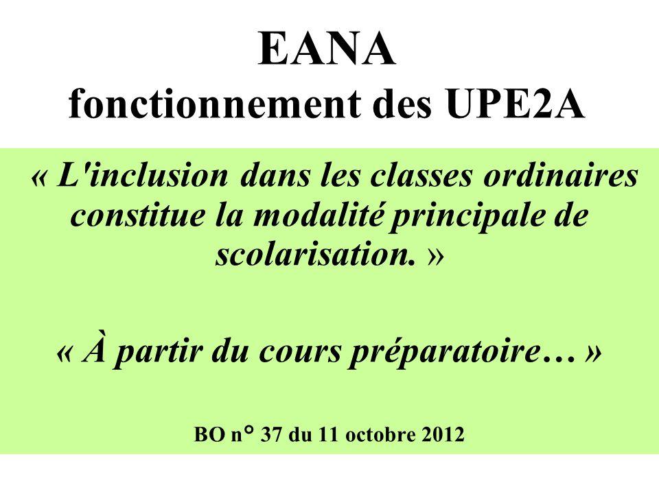 EANA fonctionnement des UPE2A