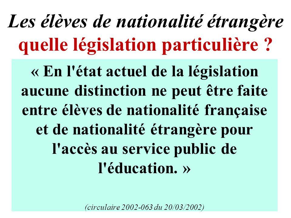 Les élèves de nationalité étrangère quelle législation particulière