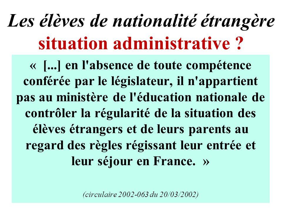 Les élèves de nationalité étrangère situation administrative