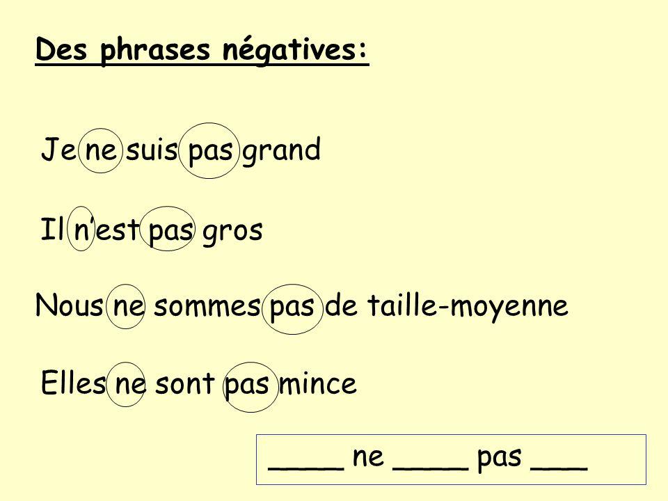 Des phrases négatives: