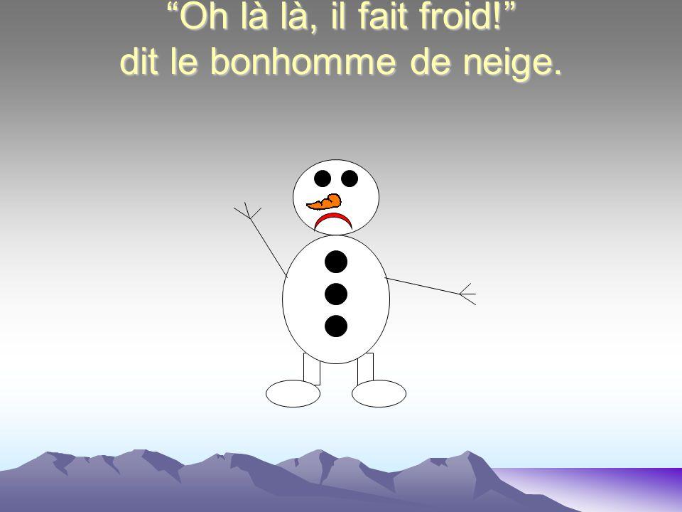 Oh là là, il fait froid! dit le bonhomme de neige.