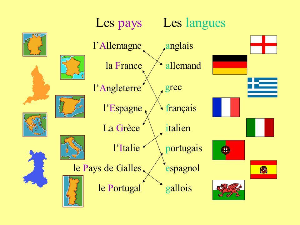 Les pays Les langues l'Allemagne anglais la France allemand