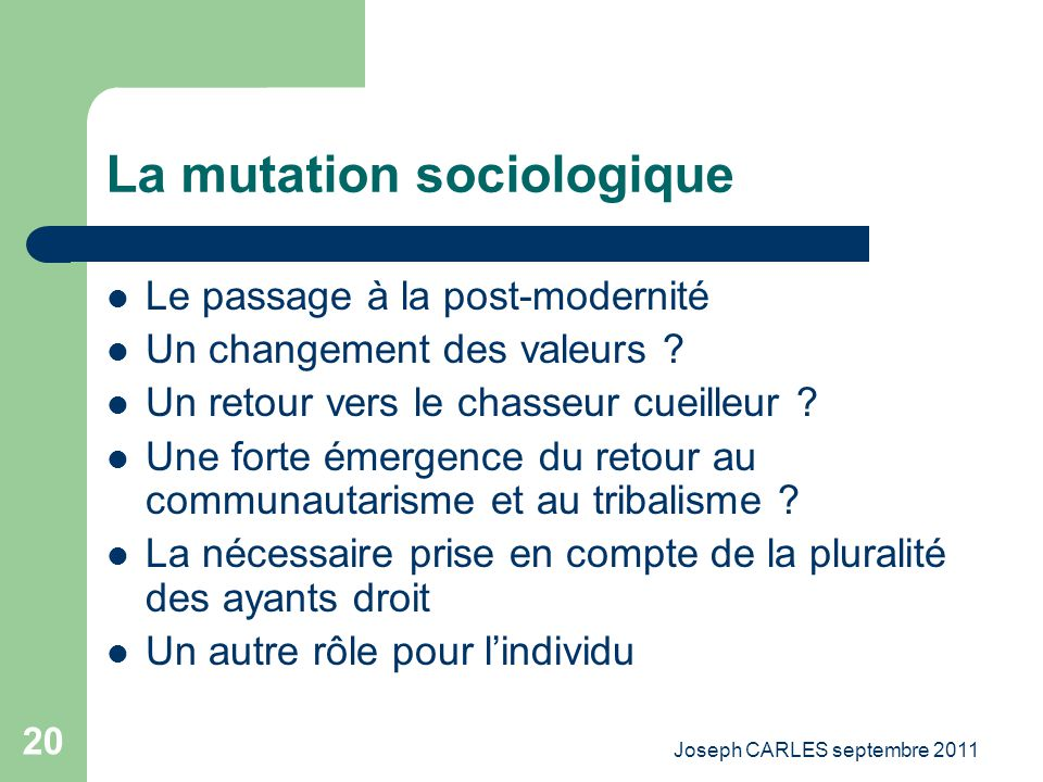 La mutation sociologique