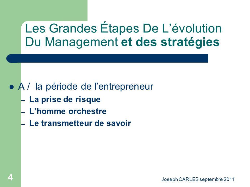 Les Grandes Étapes De L'évolution Du Management et des stratégies