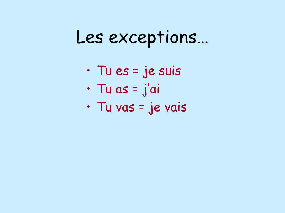 Les exceptions… Tu es = je suis Tu as = j'ai Tu vas = je vais
