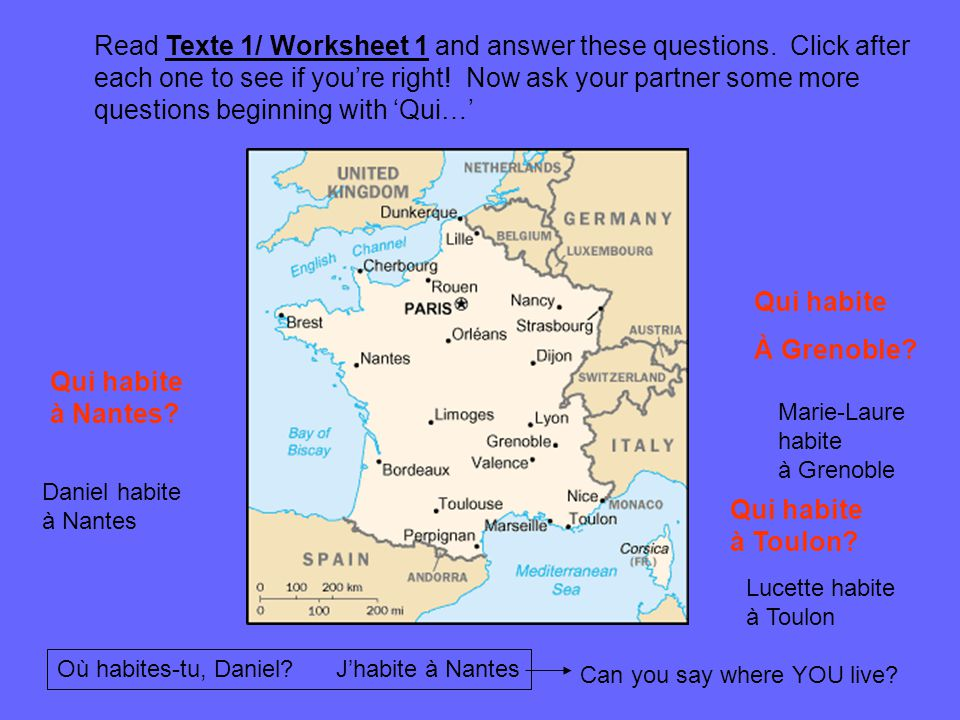 Read Texte 1/ Worksheet 1 and answer these questions. Click after