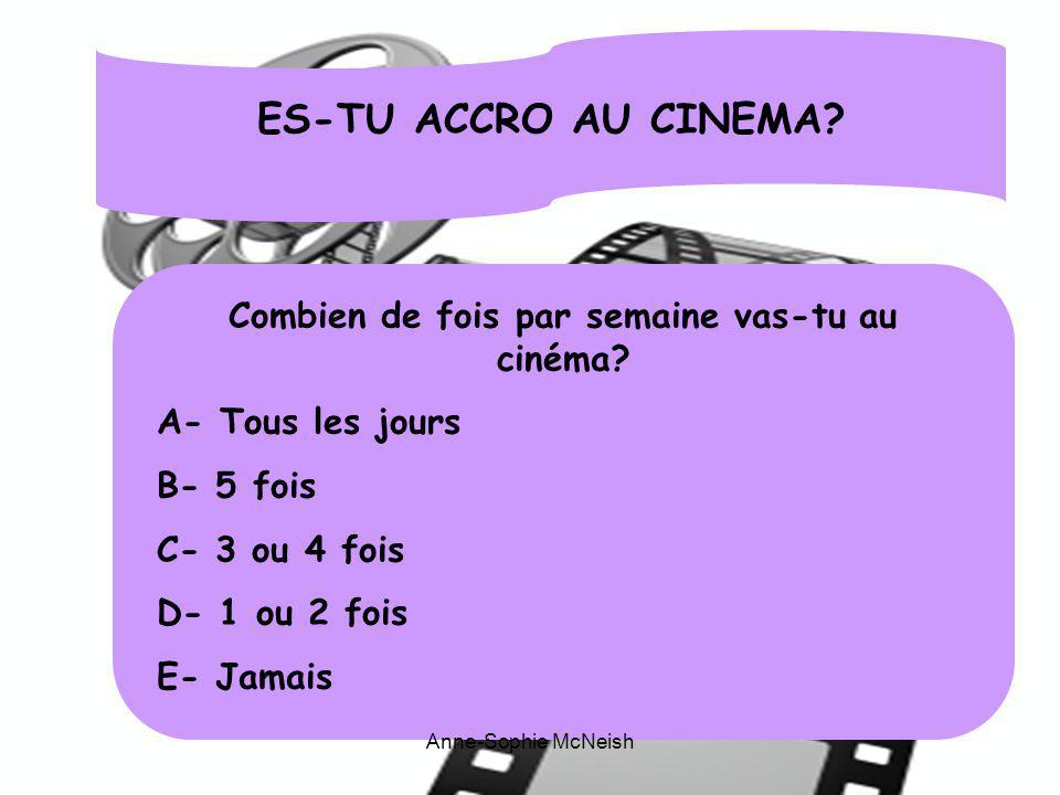 Combien de fois par semaine vas-tu au cinéma