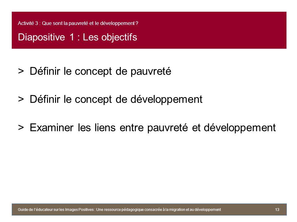 Définir le concept de pauvreté Définir le concept de développement