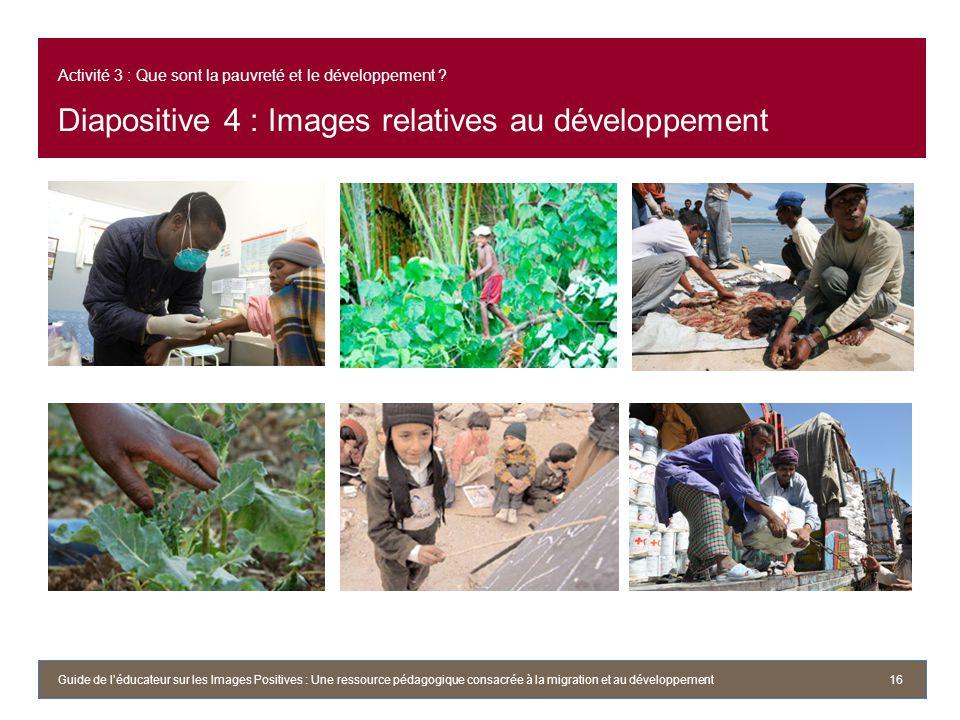 Activité 3 : Que sont la pauvreté et le développement
