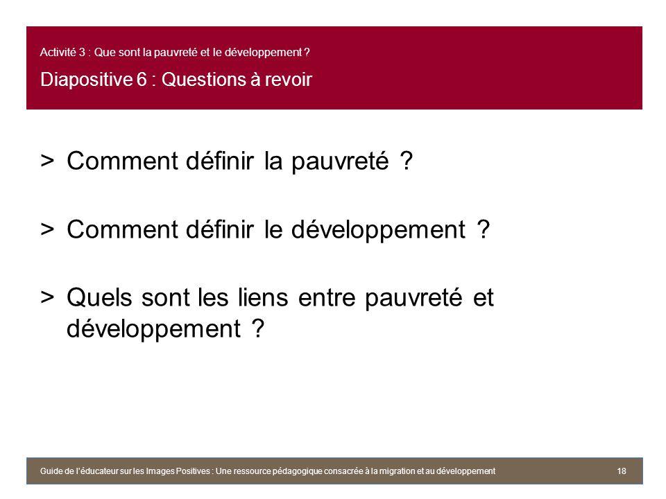 Comment définir la pauvreté Comment définir le développement