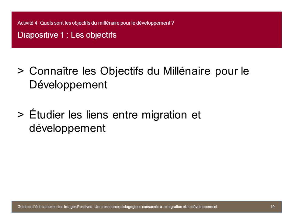 Connaître les Objectifs du Millénaire pour le Développement