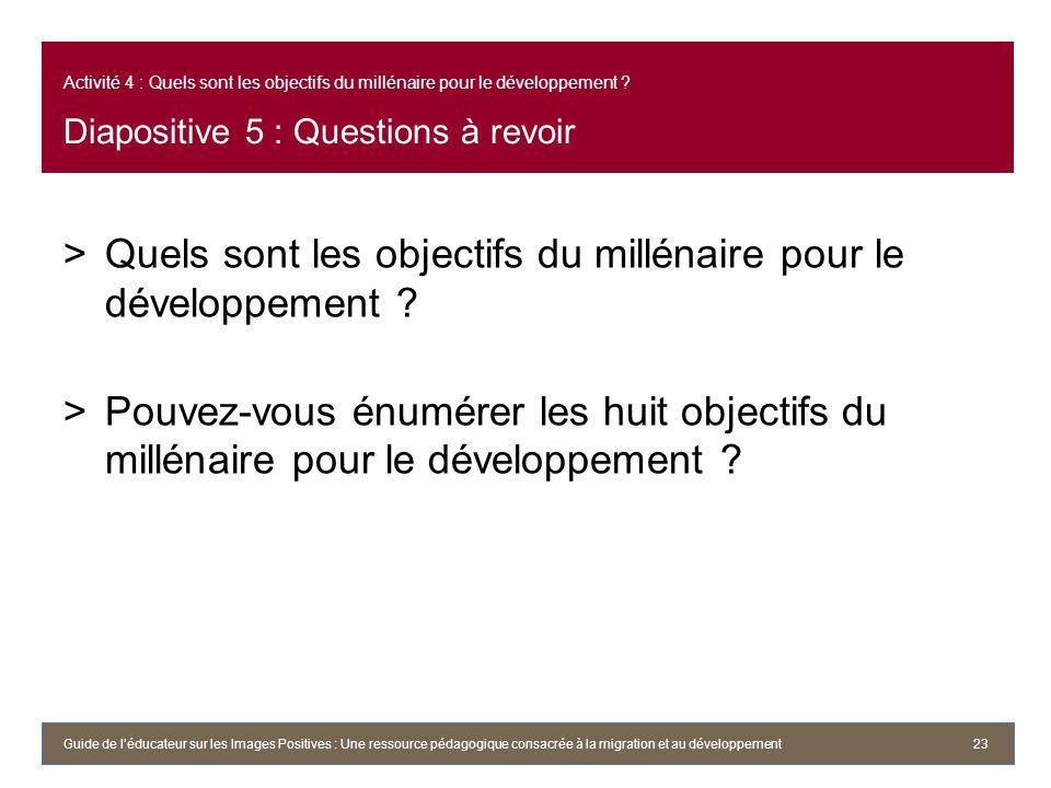 Quels sont les objectifs du millénaire pour le développement