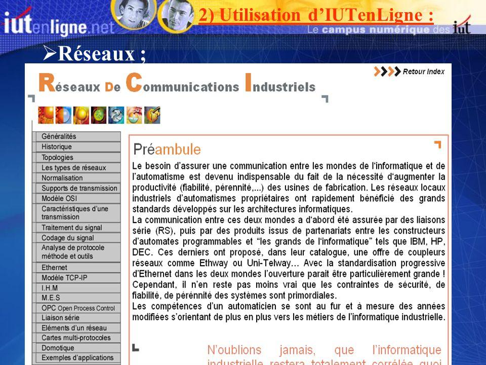 2) Utilisation d'IUTenLigne :
