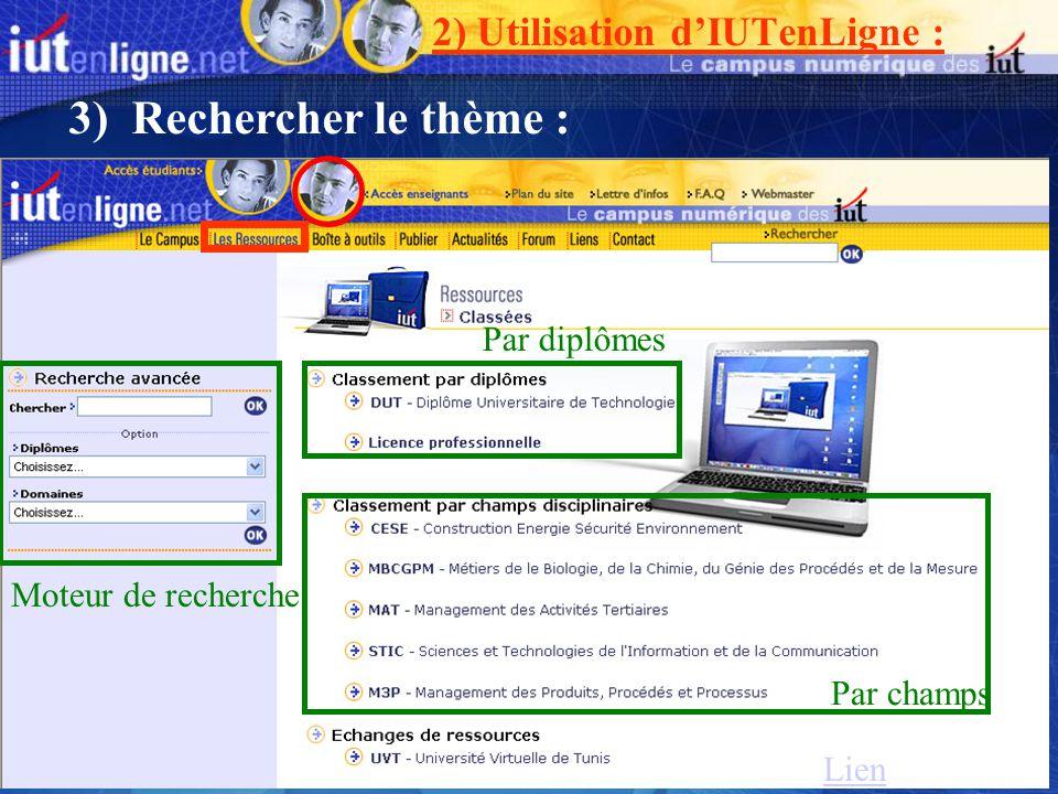 3) Rechercher le thème : 2) Utilisation d'IUTenLigne : Par diplômes