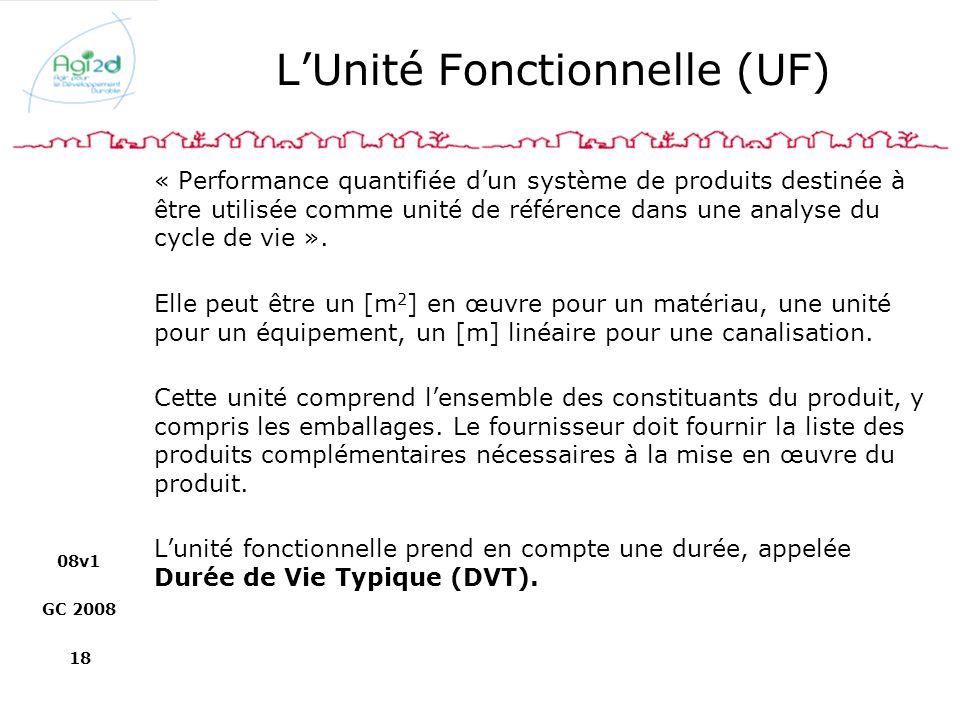 L'Unité Fonctionnelle (UF)