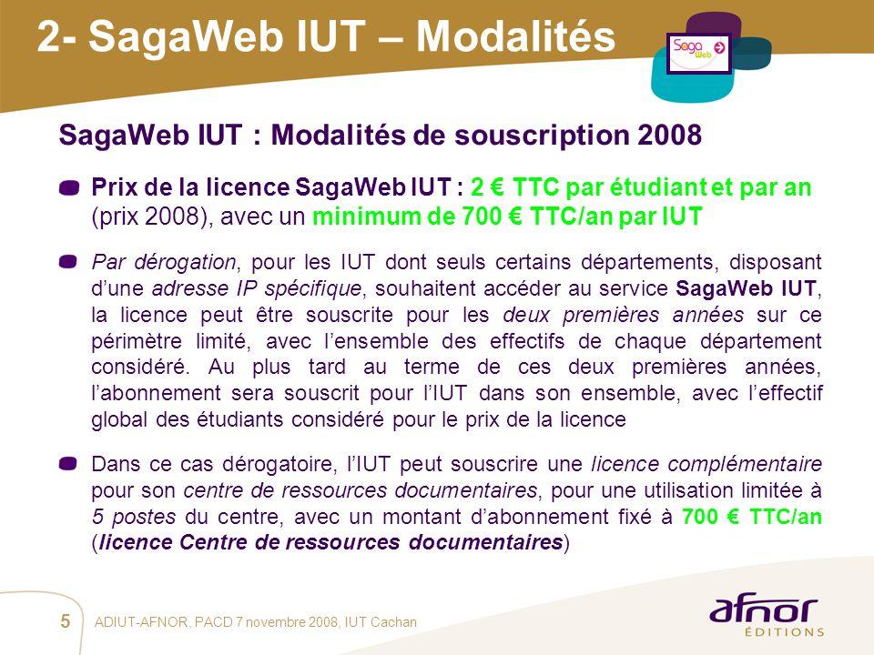 2- SagaWeb IUT – Modalités