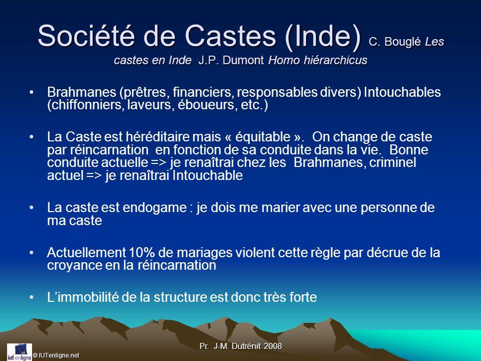 Société de Castes (Inde) C. Bouglé Les castes en Inde J. P