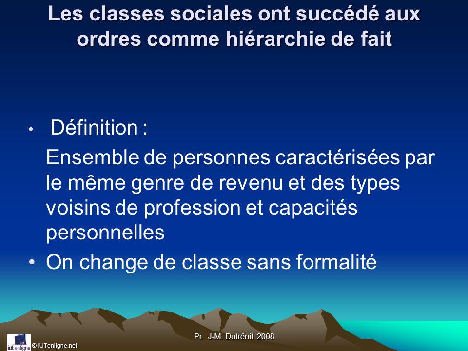 Les classes sociales ont succédé aux ordres comme hiérarchie de fait