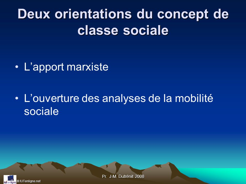 Deux orientations du concept de classe sociale