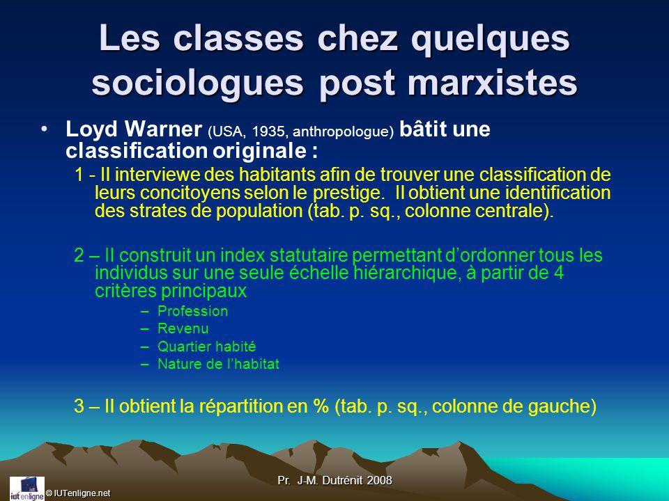 Les classes chez quelques sociologues post marxistes