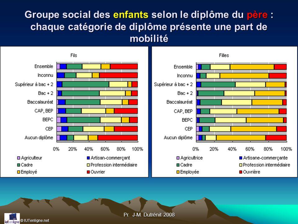 Groupe social des enfants selon le diplôme du père : chaque catégorie de diplôme présente une part de mobilité