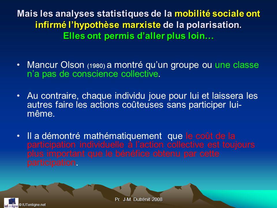 Mais les analyses statistiques de la mobilité sociale ont infirmé l'hypothèse marxiste de la polarisation. Elles ont permis d'aller plus loin…