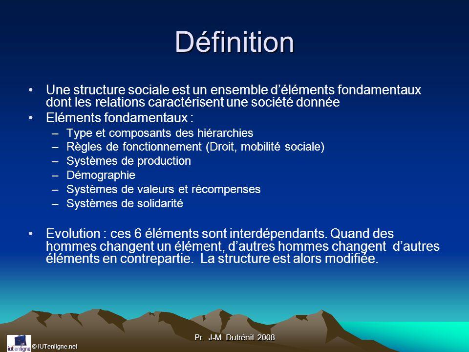 Définition Une structure sociale est un ensemble d'éléments fondamentaux dont les relations caractérisent une société donnée.