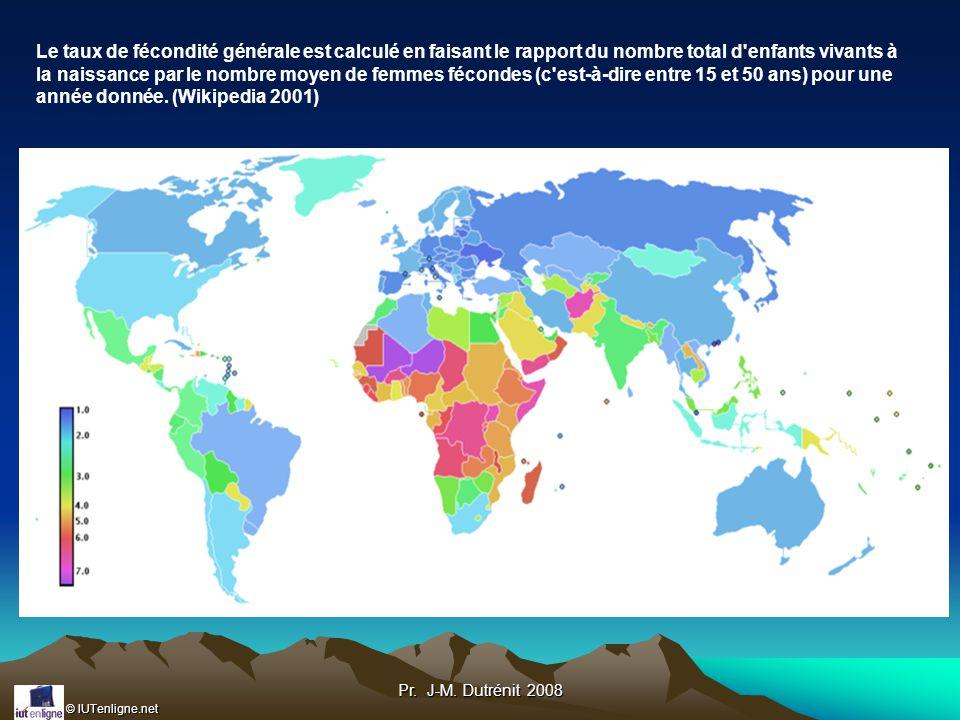 Le taux de fécondité générale est calculé en faisant le rapport du nombre total d enfants vivants à la naissance par le nombre moyen de femmes fécondes (c est-à-dire entre 15 et 50 ans) pour une année donnée. (Wikipedia 2001)