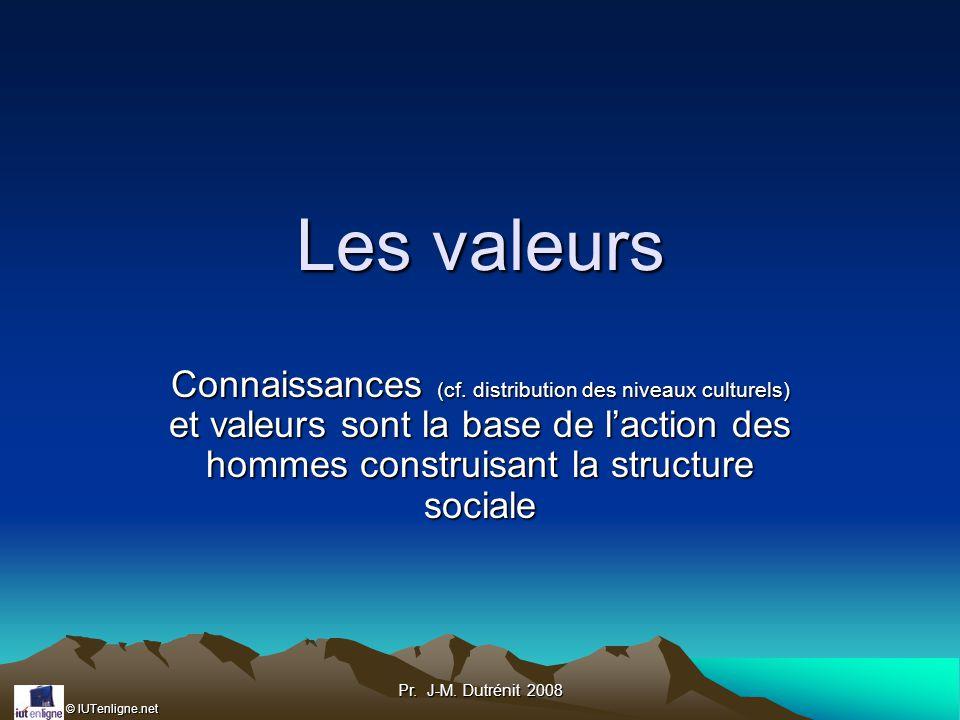 Les valeurs Connaissances (cf. distribution des niveaux culturels) et valeurs sont la base de l'action des hommes construisant la structure sociale.