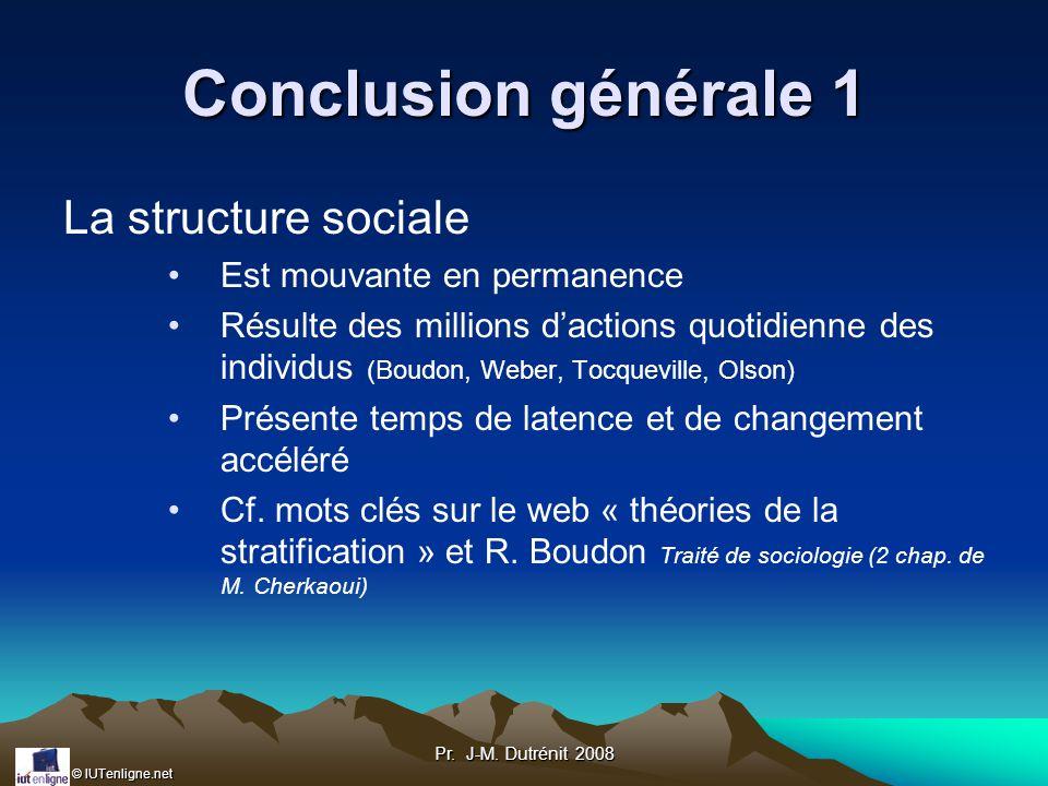 Conclusion générale 1 La structure sociale Est mouvante en permanence