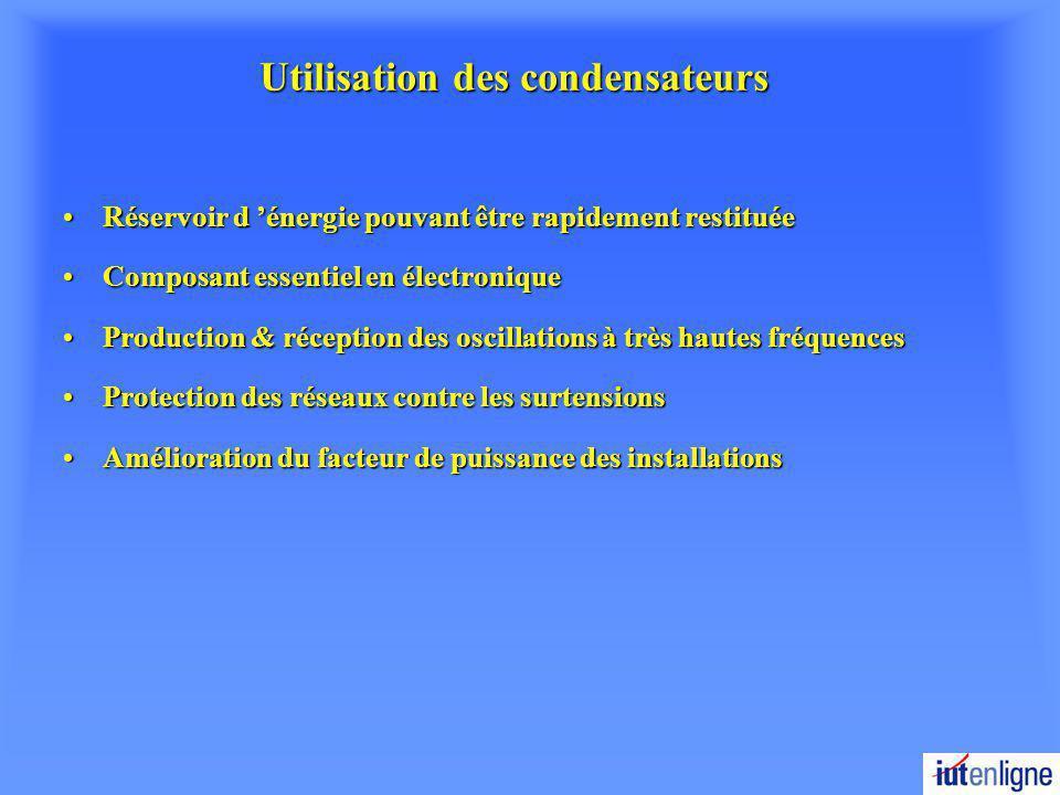 Utilisation des condensateurs